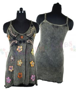 Top~ Hippy Bohemian Rustic Floral Applique Strap Summer Top Available in 3 Colours~ By Folio Gothic Hippy FX561
